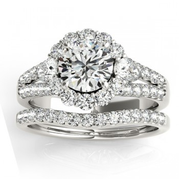 Diamond Halo w/ Pear Sidestone Bridal Set Platinum 1.17ct