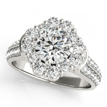 Round Cut Flower Halo Diamond Bridal Set in 14k White Gold (2.83ct)