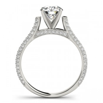 Diamond Accented Engagement Ring Setting 14K White Gold (0.52ct)