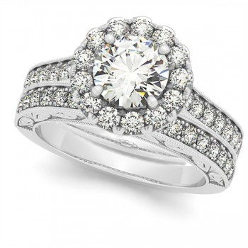 Diamond Halo Bridal Set w/ Flower Ring & Band 14k White Gold (1.33ct)