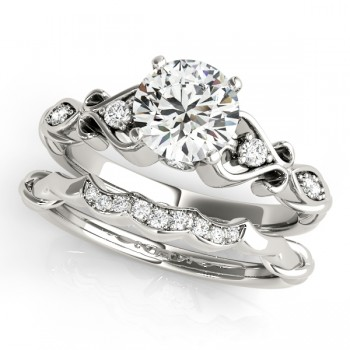 Round Diamond & Heart Engagement Ring Bridal Set 14k White Gold (2.15ct)
