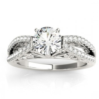 Diamond Split Shank Bridal Set Setting 14K White Gold (0.55ct)
