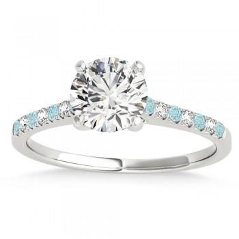 Diamond & Aquamarine Single Row Engagement Ring Palladium (0.11ct)