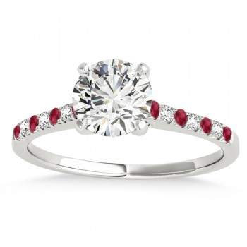 Diamond & Ruby Single Row Engagement Ring 14k White Gold (0.11ct)