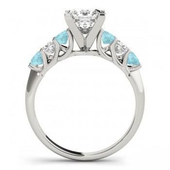 Princess Diamond & Aquamarine Engagement Ring Platinum 0.60ct
