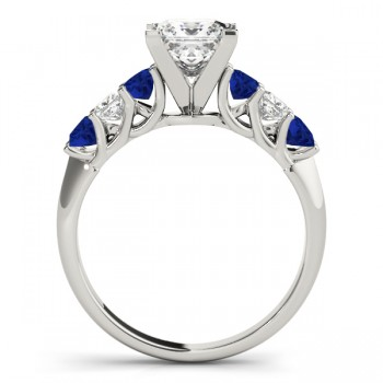 Princess Diamond & Blue Sapphire Engagement Ring 14k White Gold 0.60ct
