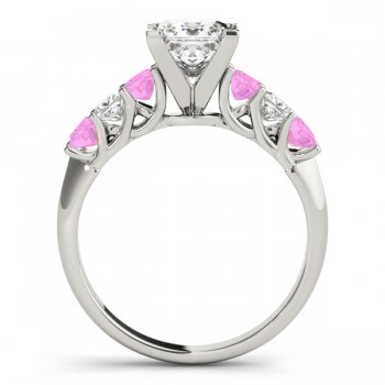 Princess Diamond & Pink Sapphire Engagement Ring 14k White Gold 0.60ct