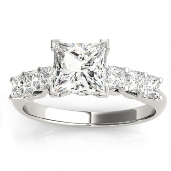 Diamond Accented Bridal Setting Ring  14k White Gold 1.30ct