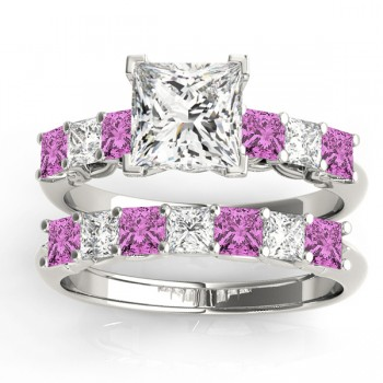 Princess cut Diamond & Pink Sapphire Bridal Set 14k White Gold 1.30ct