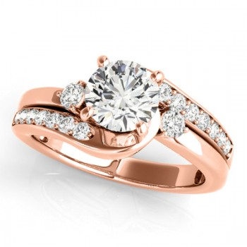 Swirl Design Diamond Engagement Ring Setting 14k Rose Gold 0.38ct