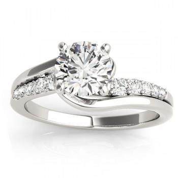 Diamond Engagement Ring Setting Swirl Design in 14k White Gold 0.25ct