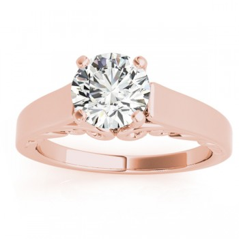 Bridal Antique Solitaire Engagement Ring 14k Rose Gold
