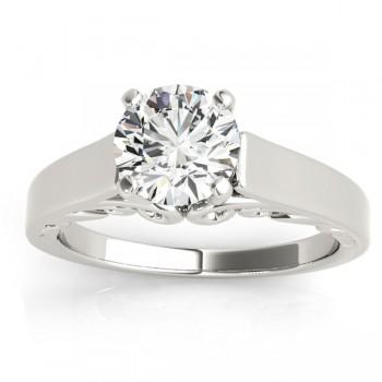 Bridal Antique Solitaire Engagement Ring 18k White Gold