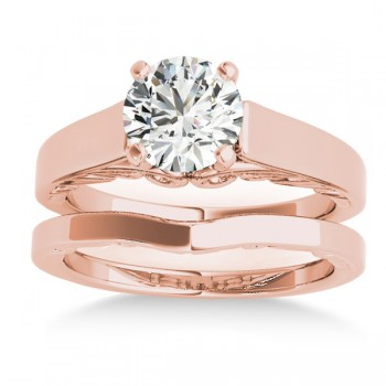 Bridal Antique Solitaire Bridal Set 18k Rose Gold