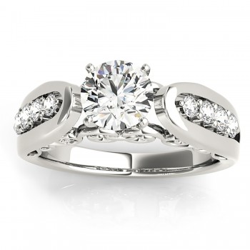 Diamond Accented Single Row Engagement Ring Setting 14k White Gold (0.20ct)