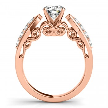 Diamond Accented Single Row Engagement Ring Setting 18k Rose Gold (0.20ct)