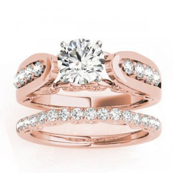 Diamond Accented Single Row Setting Bridal Set 18k Rose Gold (0.40ct)