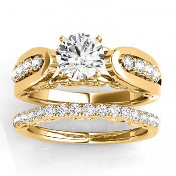 Diamond Accented Single Row Setting Bridal Set 18k Yellow Gold (0.40ct)