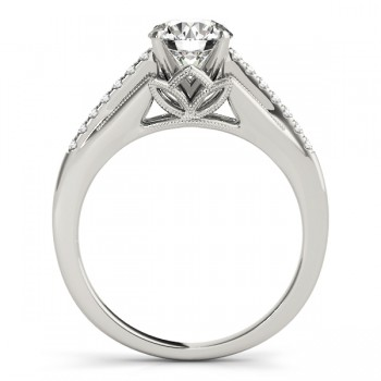 Diamond Engagement Ring Setting 14k White Gold (0.11ct)
