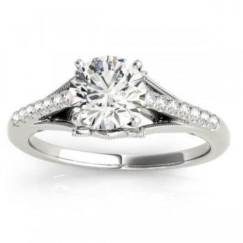 Diamond Engagement Ring Setting 18k White Gold (0.11ct)