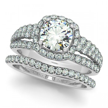 Diamond Halo Engagement Ring & Band Bridal Set 14k. White Gold 1.83ct