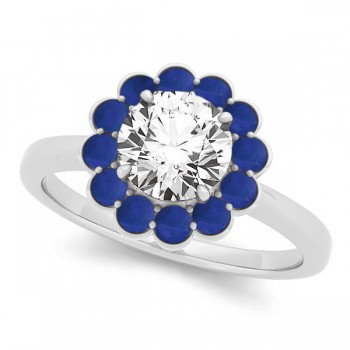 Diamond & Blue Sapphire Halo Bridal Set 14k White Gold (1.33ct)