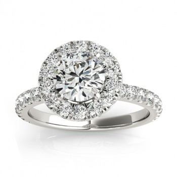 French Pave Halo Diamond Engagement Ring Setting Platinum 0.75ct