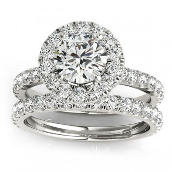 French Pave Halo Diamond Bridal Ring Set 14k White Gold (1.20ct)
