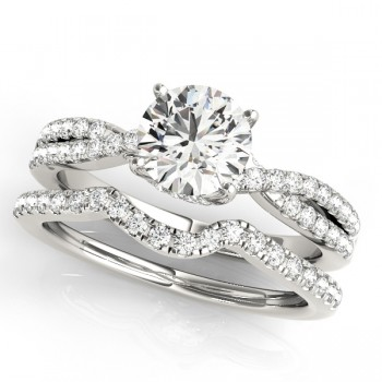 Round Diamond Engagement Ring & Band Bridal Set 14k White Gold 1.32ct