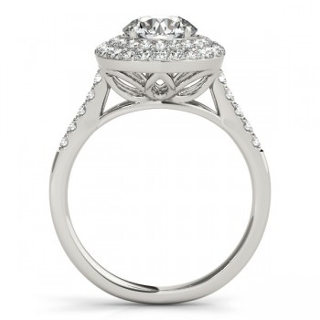 Diamond Double Halo Engagement Ring Prong Set 14k White Gold 3.00ct