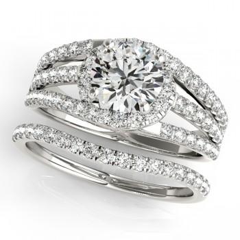 Triple Band Diamond Engagement Ring Bridal Set 14k White Gold (2.33ct)