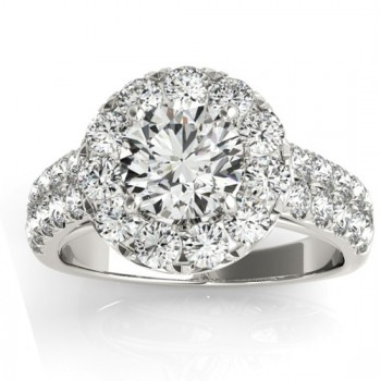Diamond Accented Halo Engagement Ring Setting 14K White Gold (0.89ct)