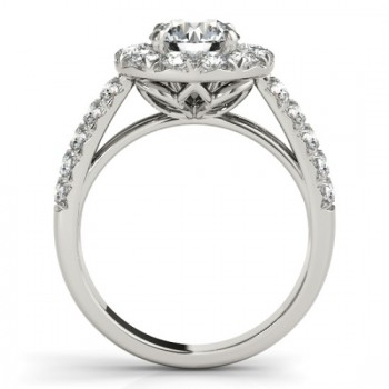 Double Row Diamond Halo Engagement Ring 14K White Gold (0.89ct)
