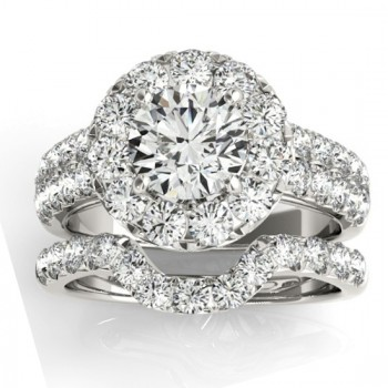 Diamond Accented Halo Bridal Set Setting 14K White Gold (1.31ct)