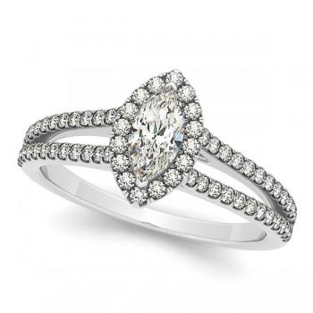 Marquise Diamond Halo Engagement Ring Split Shank 14k W. Gold 1.33ct