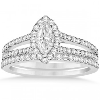 Marquise Diamond Split Shank Bridal Set Prong 14k White Gold (1.23ct)