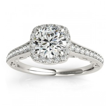 Diamond Square Halo Carved Engagement Ring 14k White Gold (0.35ct)