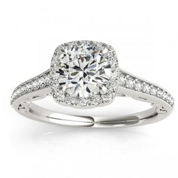 Diamond Antique Style Halo Bridal Set 18k White Gold (0.52ct)