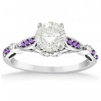 Marquise & Dot Amethyst Vintage Engagement Ring 14k White Gold 0.13ct