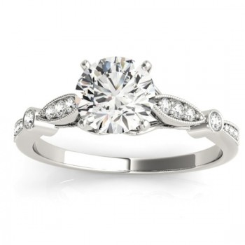 Marquise & Dot Diamond Vintage Engagement Ring 14k White Gold 0.13ct