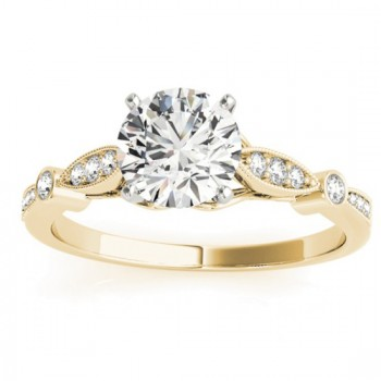 Marquise & Dot Diamond Vintage Engagement Ring 14k Yellow Gold 0.13ct