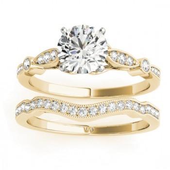 Marquise & Dot Diamond Vintage Bridal Set in 18k Yellow Gold (0.29ct)