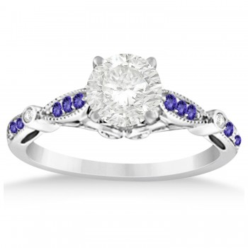 Marquise & Dot Tanzanite Vintage Bridal Set in 14k White Gold (0.29ct)