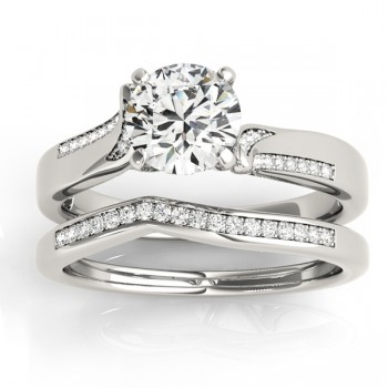 Diamond Pave Swirl Bridal Set Setting 18k White Gold (0.24ct)