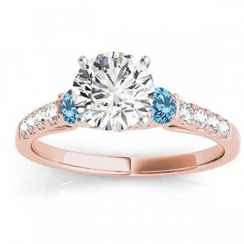 Diamond &  Blue Topaz Three Stone Engagement Ring 18k Rose Gold (0.43ct)