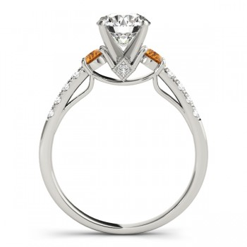 Diamond & Citrine Three Stone Engagement Ring 14k White Gold (0.43ct)