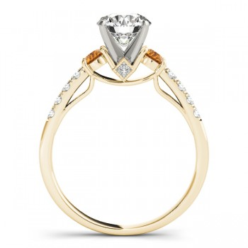 Diamond & Citrine Three Stone Engagement Ring 14k Yellow Gold (0.43ct)