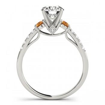 Diamond & Citrine Three Stone Engagement Ring Setting Palladium (0.43ct)