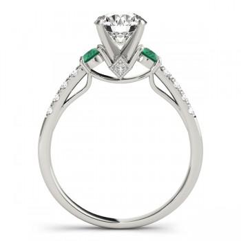 Diamond & Emerald Three Stone Engagement Ring 14k White Gold (0.43ct)