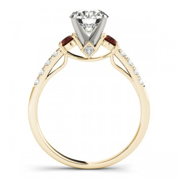 Diamond & Garnet Three Stone Engagement Ring 18k Yellow Gold (0.43ct)